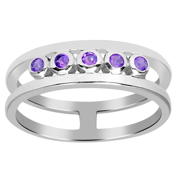 Orchid Jewelry Sterling Silver Gemstone, Topaz 5-Stone Band Ring