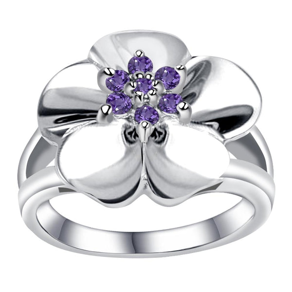Orchid Jewelry 925 Sterling Silver Gemstone Flower Design Ring