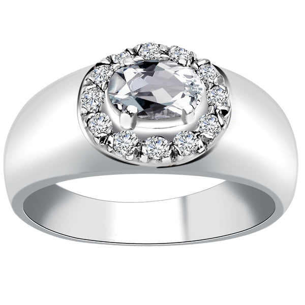 Orchid Jewelry Sterling Silver 0.84 Carat White Topaz Prong Set Halo Engagement Ring