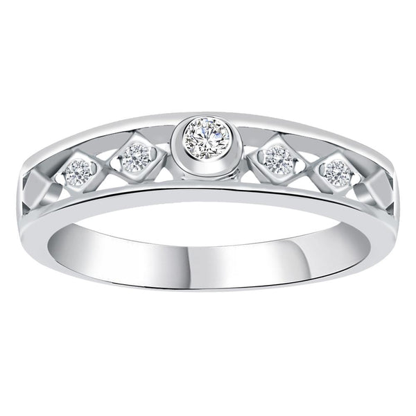 Orchid Jewelry Sterling Silver 0.18 Carat White Cubic Zirconia Band Ring