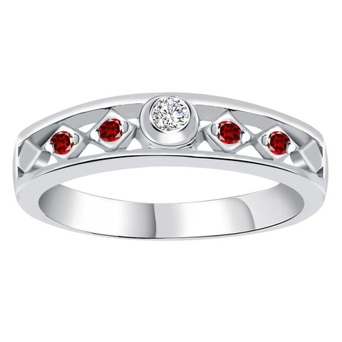 Orchid Jewelry 925 Sterling Silver 0.25 Carat Cubic Zirconia & Garnet Band Ring