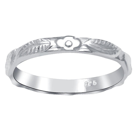 Essence Jewelry Flower And Leaf Carved Sterling Silver Eternity Band