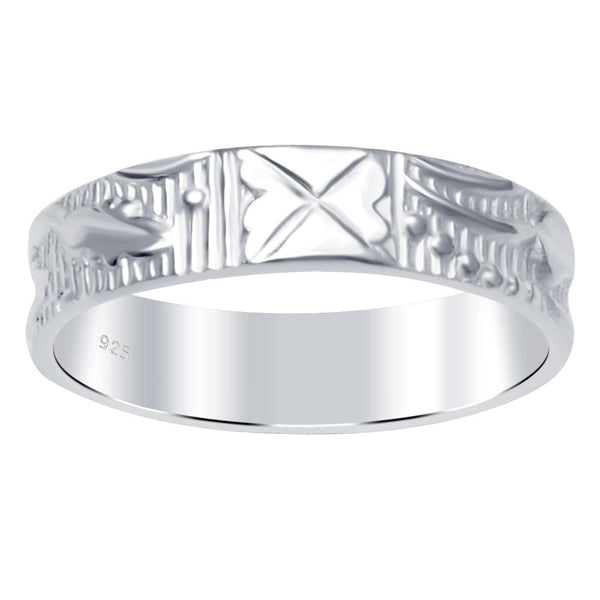 Essence Jewelry Textured And Engraved Sterling Silver Wedding Bands.