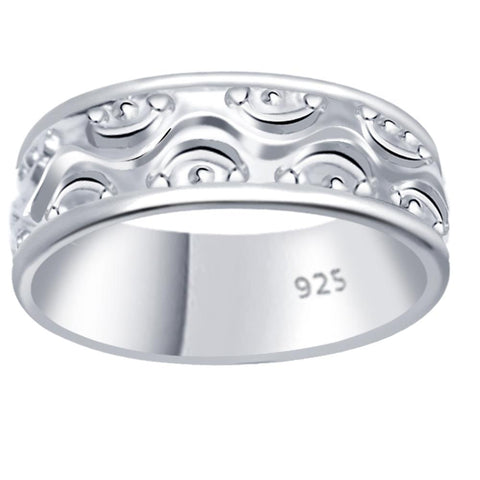Essence Jewelry 925 Sterling Silver Etched Design Promise Ring Band