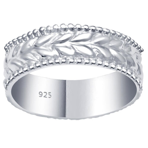 Essence Jewelry 925 Sterling Silver Emboss Leaf Eternity Silver Ring Band