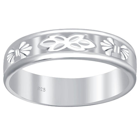 Essence Jewelry 925 Sterling Silver Etched Design Band Ring
