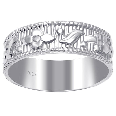 Essence Jewelry 925 Sterling Silver Comfort Fit Textured & Carved Engagement Bands