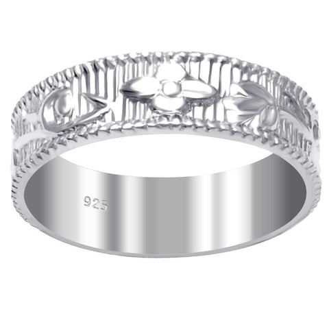 Essence Jewelry 925 Sterling Silver Comfort Fit Textured & Carved Unique Wedding Bands