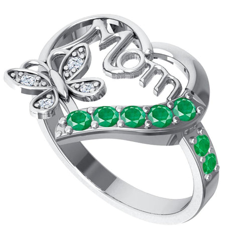 Orchid Jewelry Sterling Silver Diamond and Emerald Heart Shaped Mom Collection Ring