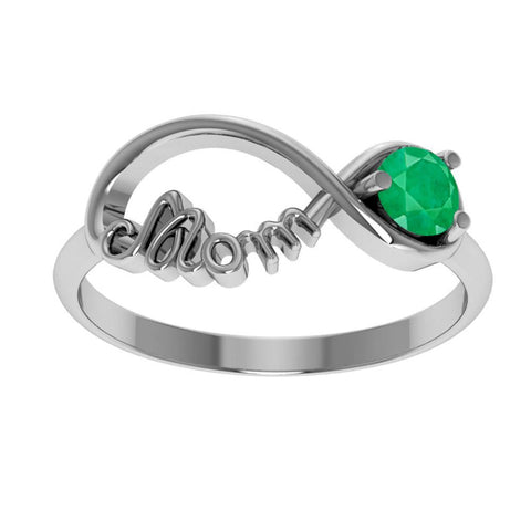 Infinity Sterling Silver Mother's Day Ring with Emerald
