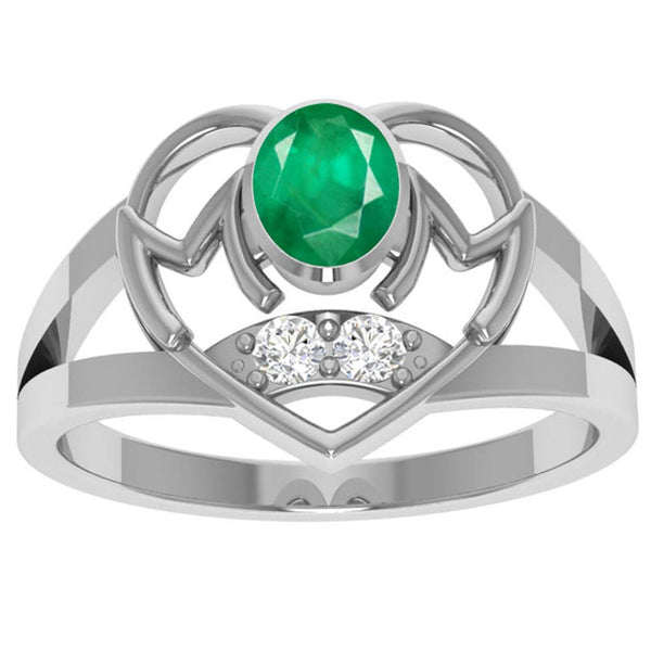 Orchid Jewelry Sterling Silver Emerald and White Topaz Ring