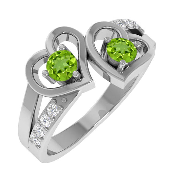 Orchid Jewelry Mother's Day Gift Sterling Silver Peridot Birthstone and White Topaz Heart Shaped Ring
