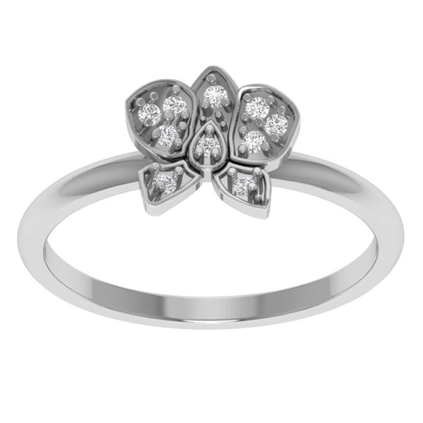 Orchid Jewelry 0.07 Carat Diamond Flower Sterling Silver Ring