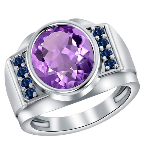 Orchid Jewelry Sterling Silver Father's Day 0.54 Carat Amethyst & Sapphire Ring