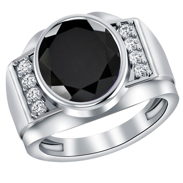 Orchid Jewelry Sterling Silver Father's Day 4.02 Carat Black Onyx & White Topaz Ring