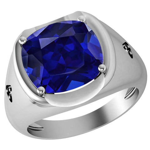 Orchid Jewelry 10.16 Ct. Simulated Sapphire & Diamond 925 Sterling Silver Men's Ring