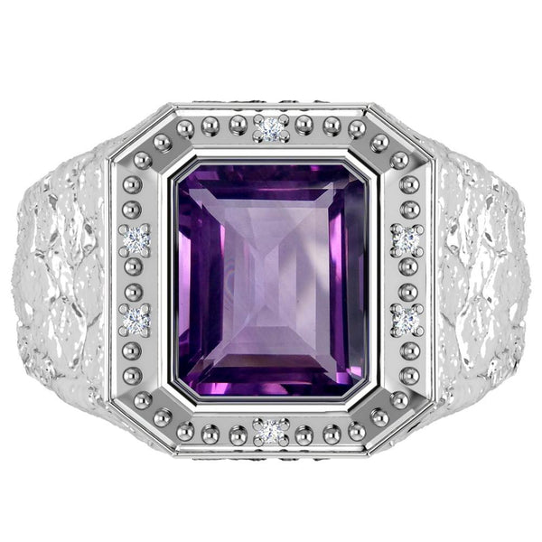 Orchid Jewelry Sterling Silver Father's Day 2.94 Carat Amethyst & Diamond Ring