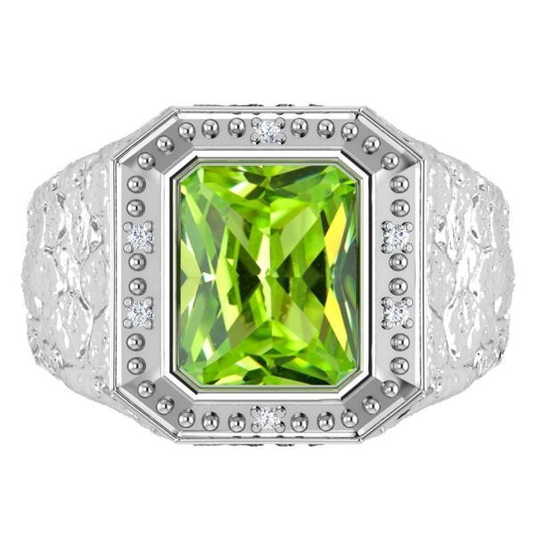 Orchid Jewelry Sterling Silver Father's Day 2.64 Carat Peridot & Diamond Ring