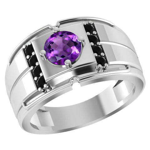 Orchid Jewelry 1.18 Carat Round Amethyst & Sapphire 925 Sterling Silver Men's Ring