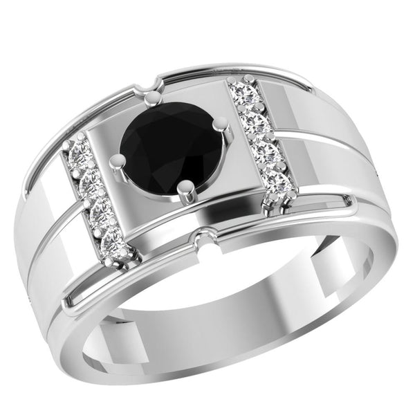 Orchid Jewelry 0.95 Carat Black Onyx & Topaz 925 Sterling Silver Men's Ring