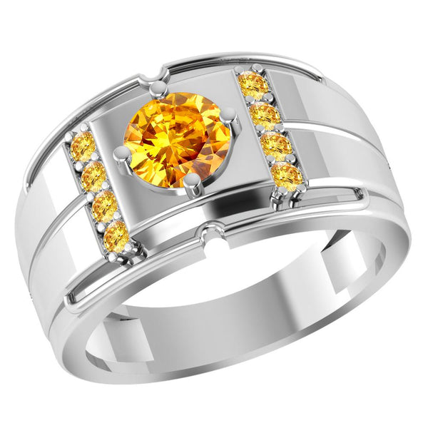Orchid Jewelry 1.05 Carat Citrine 925 Sterling Silver Men's Halo Ring