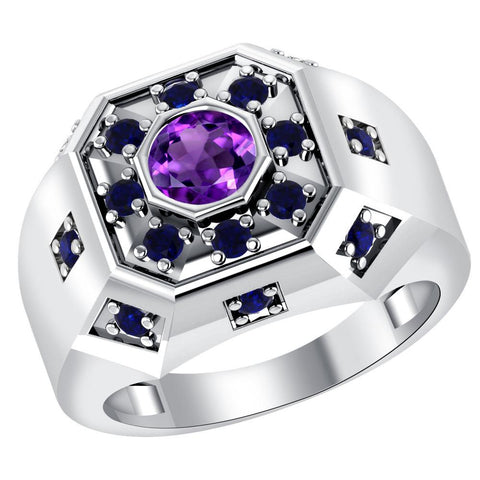 Orchid Jewelry Sterling Silver Father's Day 1.35 Carat Amethyst & Sapphire Ring