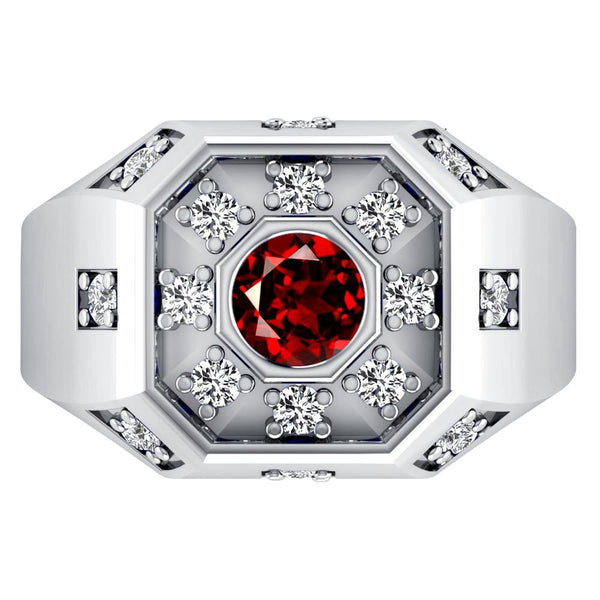 Orchid Jewelry Sterling Silver Father's Day 1.40 Carat Garnet & White Topaz Ring