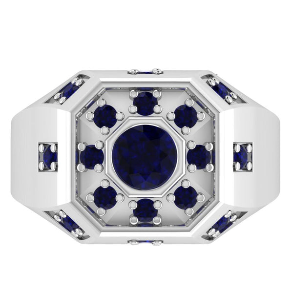 Orchid Jewelry Sterling Silver Father's Day 1.50 Carat Sapphire Ring