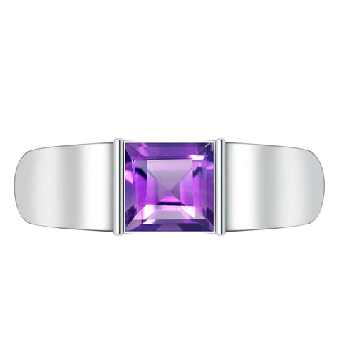 Orchid Jewelry Sterling Silver Father's Day 1.05 Carat Amethyst Ring