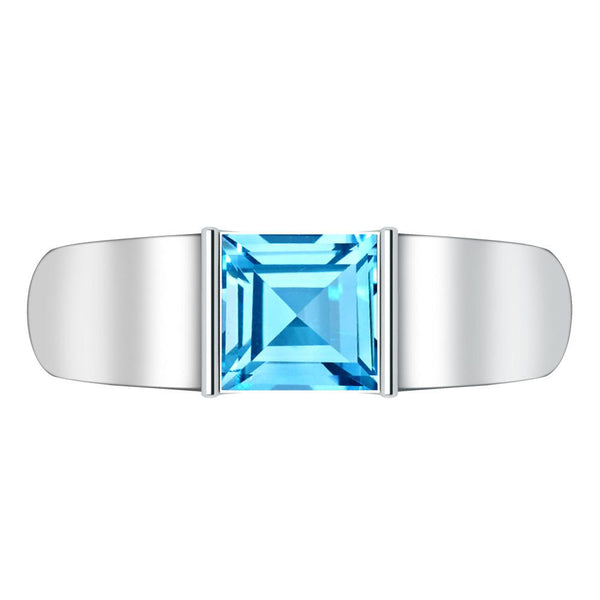 Orchid Jewelry Sterling Silver Father's Day 1.40 Blue Topaz Ring