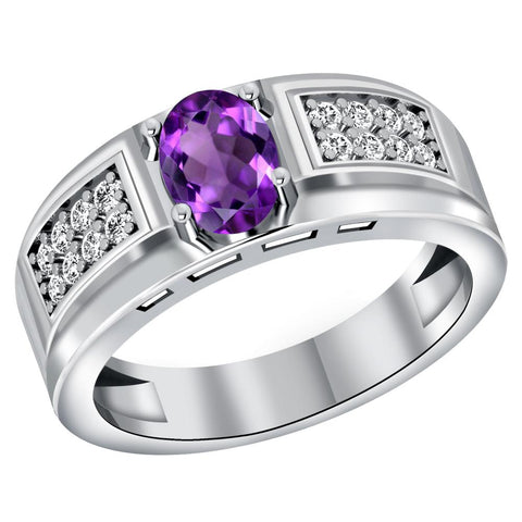 Orchid Jewelry 925 Sterling Silver 1.05 Carat Amethyst & White Topaz Men's Halo Ring