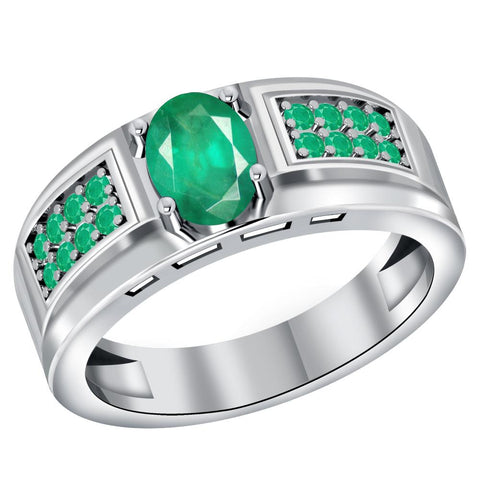 Orchid Jewelry 925 Sterling Silver 1.15 Carat Natural Emerald Men's Halo Ring