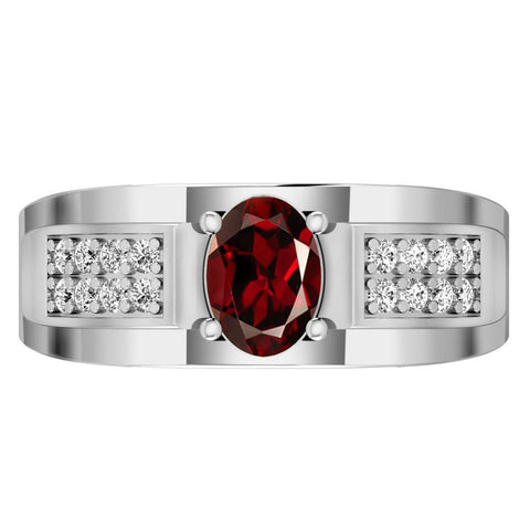 Orchid Jewelry Sterling Silver Father's Day Garnet and White Topaz Ring