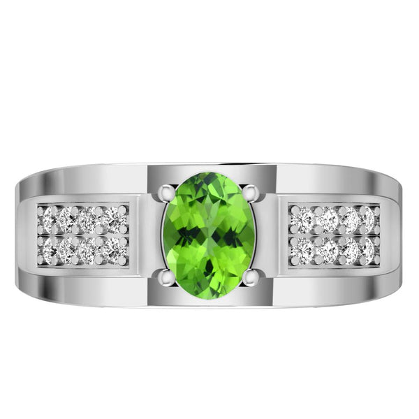 Orchid Jewelry Sterling Silver Father's Day Special Peridot & White Topaz Ring