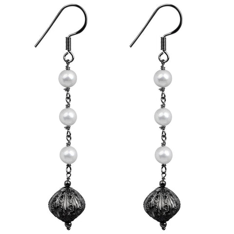 Jeweltique Designs 925 Sterling Silver 11.15 Carat Diamond & Pearl Earrings