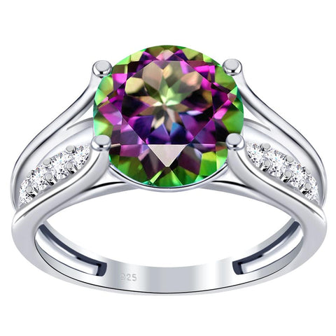 Orchid Jewelry 925 Sterling Silver Simulated Mystic Quartz & White Topaz Engagement Ring