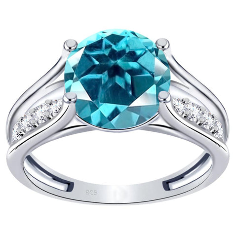 Orchid Jewelry 925 Sterling Silver Simulated Paraiba Tourmaline & White Topaz Engagement Ring