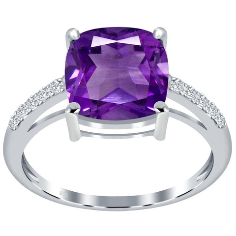 Orchid Jewelry 925 Sterling Silver Amethyst & White Topaz Solitaire Ring