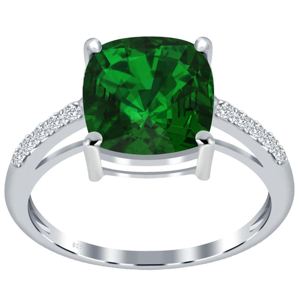 Orchid Jewelry 925 Sterling Silver Simulated Emerald & White Topaz Solitaire Ring
