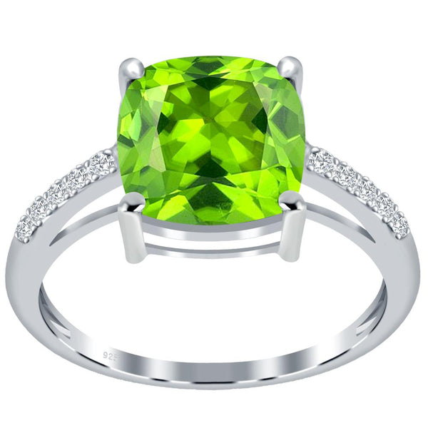 Orchid Jewelry 925 Sterling Silver Simulated Peridot & White Topaz Solitaire Ring