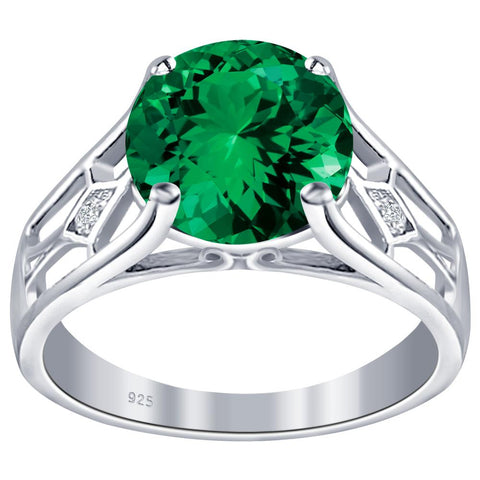Orchid Jewelry 925 Sterling Silver Simulated Emerald & Diamond Solitaire Ring