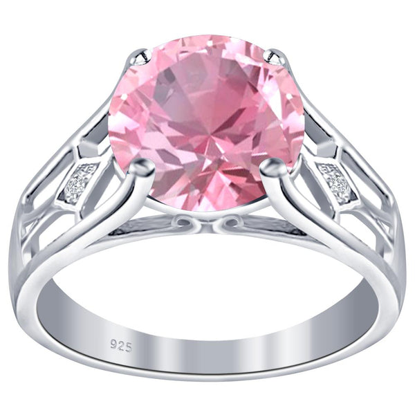 Orchid Jewelry 925 Sterling Silver Simulated Morganite & Diamond Solitaire Ring