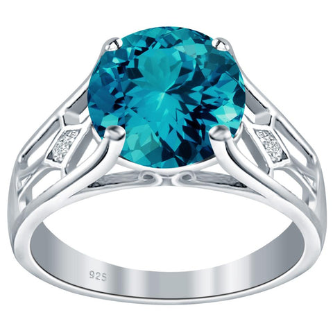 Orchid Jewelry 925 Sterling Silver Simulated Paraiba Tourmaline & Diamond Solitaire Ring
