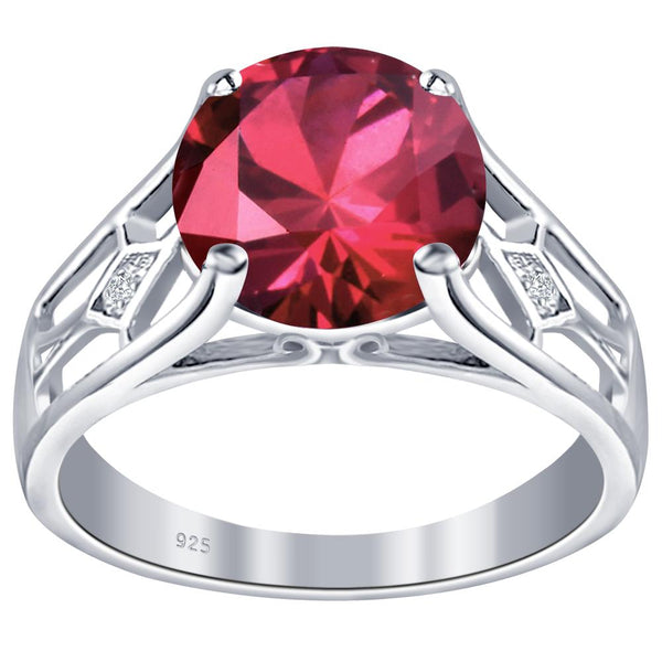 Orchid Jewelry 925 Sterling Silver Simulated Ruby & Diamond Solitaire Ring