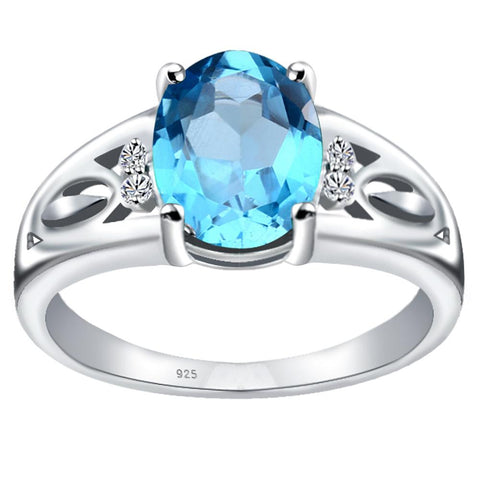 Orchid Jewelry 925 Sterling Silver Simulated Aquamarine & Diamond Statement Ring