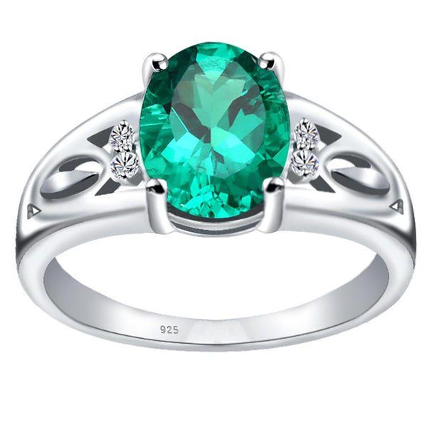 Orchid Jewelry 925 Sterling Silver Simulated Emerald & Diamond Statement Ring