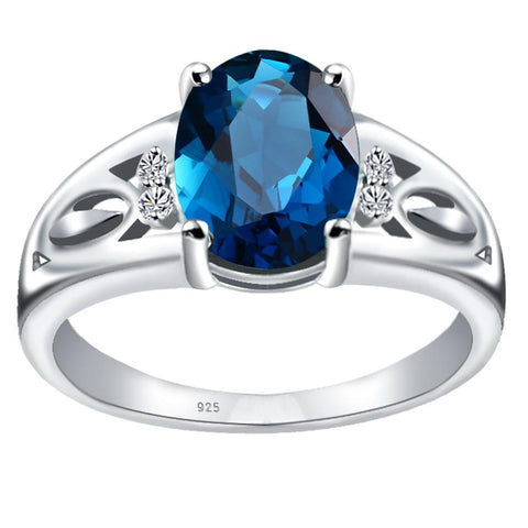 Orchid Jewelry 925 Sterling Silver Simulated London Blue Topaz & Diamond Statement Ring