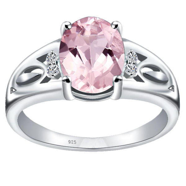Orchid Jewelry 925 Sterling Silver Simulated Morganite & Diamond Statement Ring