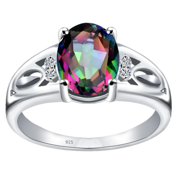 Orchid Jewelry 925 Sterling Silver Simulated Mystic Quartz White Topaz Statement Ring