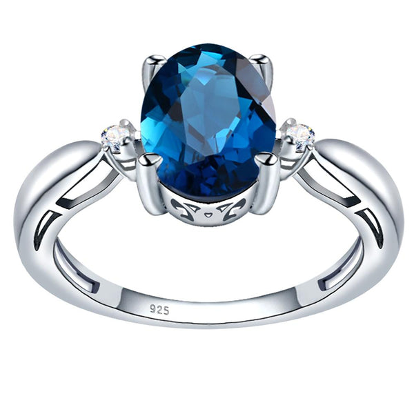 Orchid Jewelry 925 Sterling Silver Simulated London Blue Topaz & Diamond 3-Stone Ring